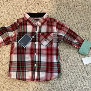 NWT Boys Andy & Evan Red Christmas Plaid Shirt 2T